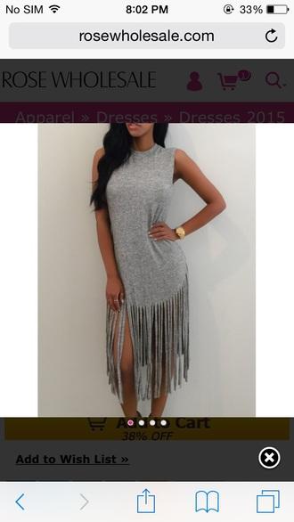 grey dress fringed dress