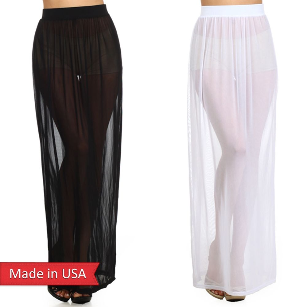 New Women Trendy Fashion Fitted Sexy Sheer Mesh See Through Long Maxi Skirt USA