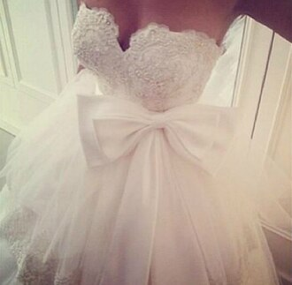 dress bow lace white