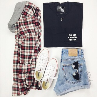 t-shirt nyct clothing graphic tee top black t-shirt pocket t-shirt ootd outfit plaid shirt shorts converse monday
