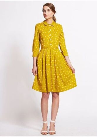 dress fair trade organic cotton yellow dress shirt dress yellow shirt dress ankle strap flats white flats sustainable fashion ankle strap collared dress