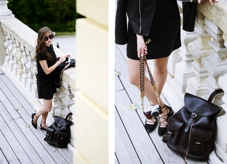 jestem kasia blogger leather bag leather backpack black dress all black everything
