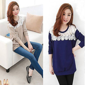 New Korean Fashion Womens Girls Crew Neck Long Sleeve Tops Blouse T Shirt M L XL | eBay