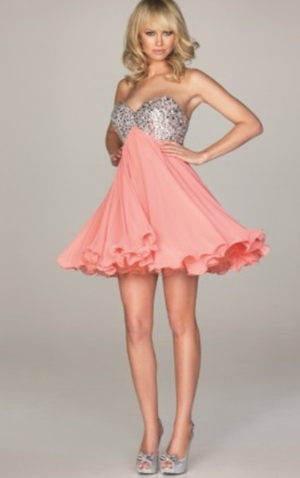 pink silver salmon dress short party dresses homecoming dress