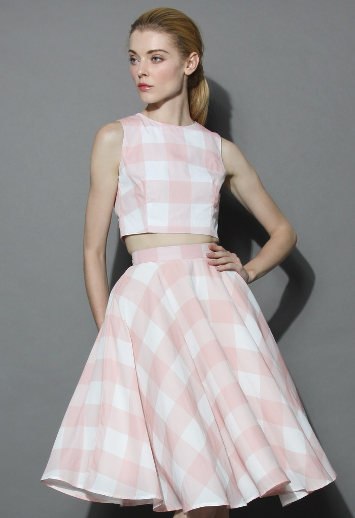 Check and Chic Cropped Top and Skirt Set - Retro, Indie and Unique Fashion