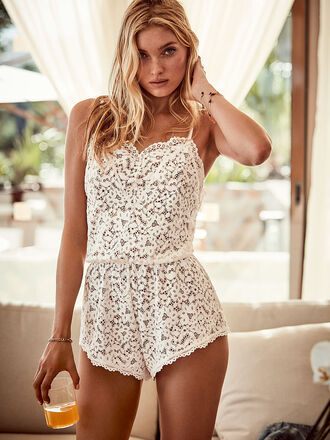 pajamas romper underwear model elsa hosk lace lingerie victoria's secret victoria's secret model
