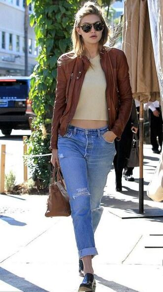 jacket top jeans gigi hadid fall outfits sunglasses