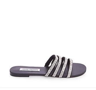 shoes rhinestone sandals cute sandals slide sandals strappy slide sandals shiny sandals cute slide sandals four straps