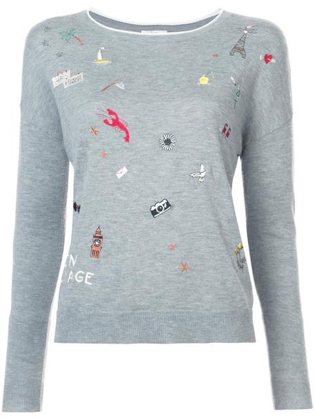 Joie - Eloisa embroidered sweater - women - Nylon/Polyester/Viscose/Wool - L, Grey, Nylon/Polyester/Viscose/Wool