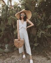 bag,jumpsuirt,jumpsuit,top,shoes,hat,sunglasses,cult gaia bag