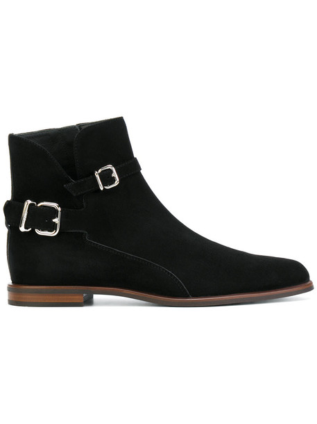 TOD'S women ankle boots leather suede black shoes
