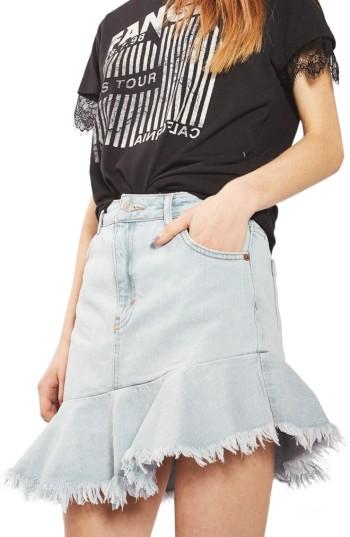 Topshop Moto Asymmetrical Hem Denim Skirt | Nordstrom