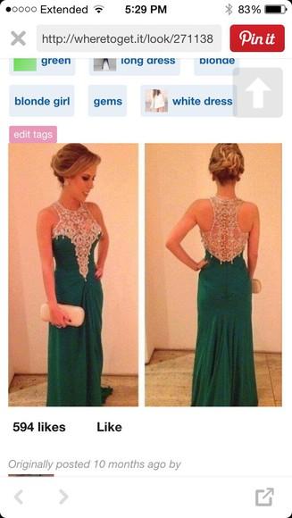 prom dress long emerald green