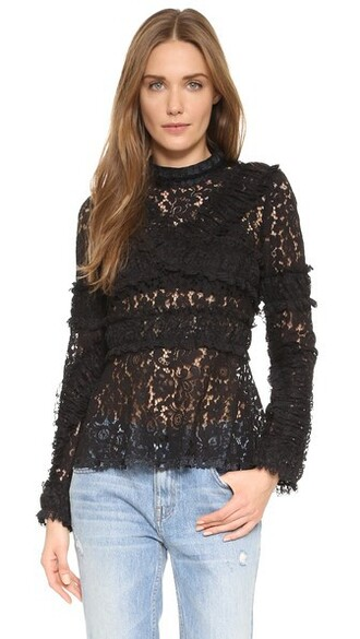 top lace top embroidered lace black
