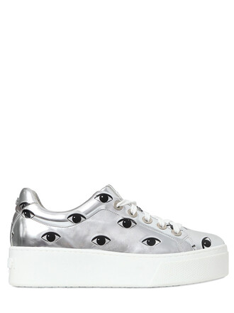 eyes metallic sneakers leather silver shoes
