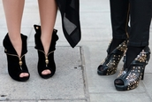 shoes,heels,black,studded,zip