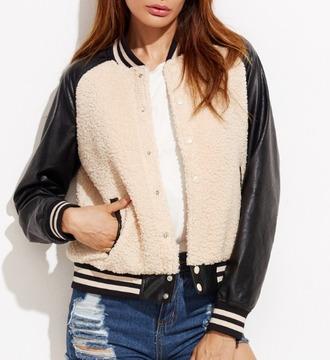 jacket girl girly girly wishlist fur leather leather jacket button up varsity jacket