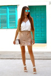 only my fashion style,blogger,top,skirt,bag,shoes,sandals,high heel sandals,white top,shoulder bag,nude skirt,summer outfits