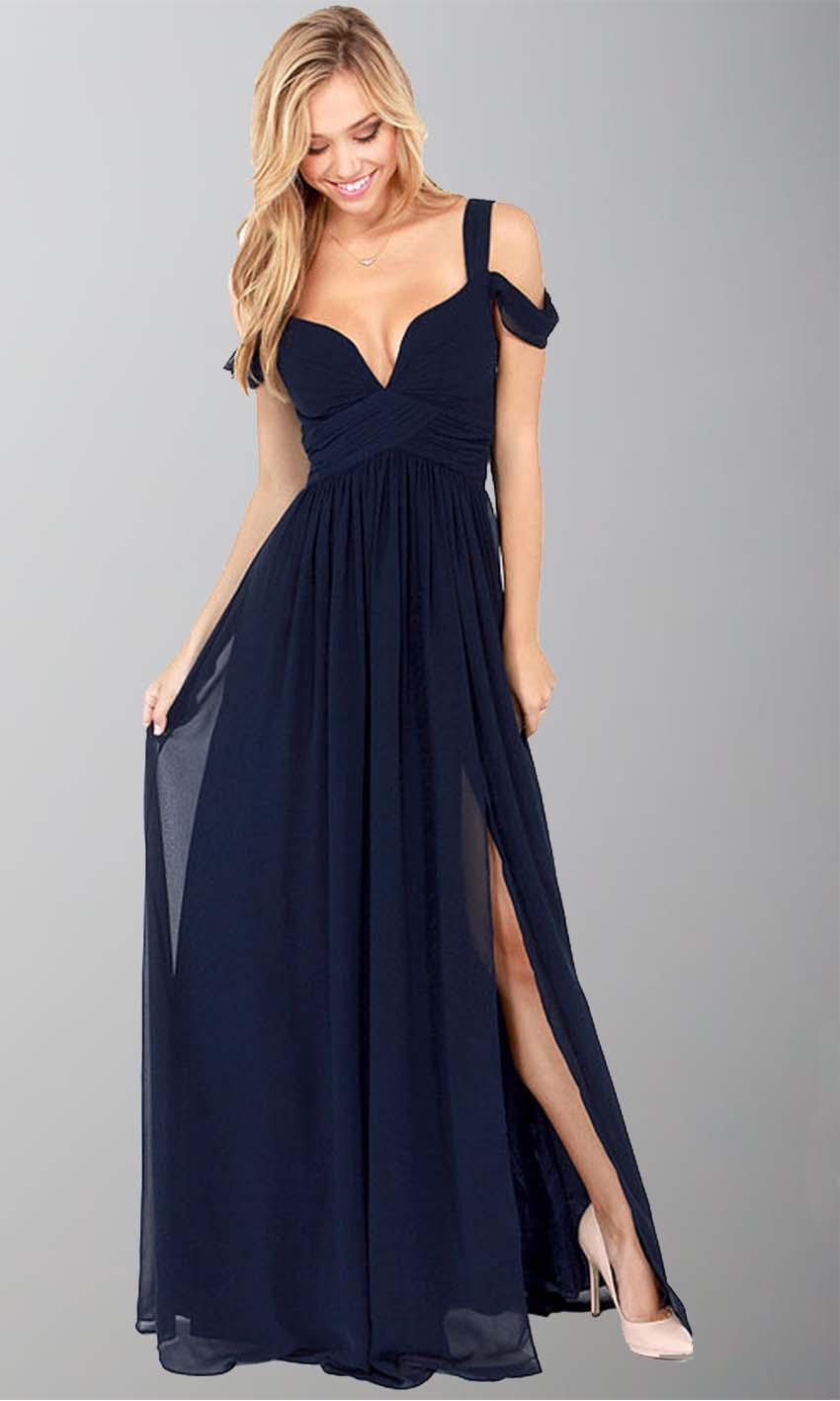 Navy blue off shoulder slit sexy maxi dresses ksp246 for Navy blue maxi dress for wedding