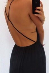 dress,black,cross,back,black dress,open back,maxi dress,cross back,black maxi dress,black dress open back