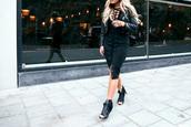 fanny lyckman,blogger,skirt,top,shoes,jacket,lace up skirt,black midi dress