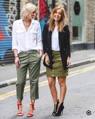 shoes sand kahki skirt tumblr sandal heels sandals red sandals pants khaki khaki pants mini skirt cropped pants shirt white shirt streetstyle blazer black blazer