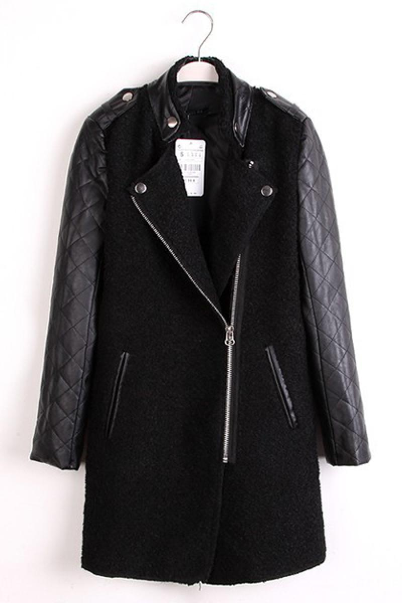 Quilted Leather Sleeve Slim Dignified Woolen Overcoat,Cheap in Wendybox.com