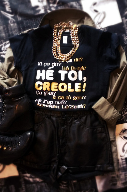 t-shirt mocreole urban black gold creole