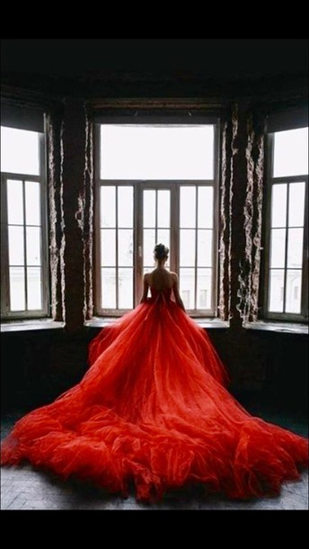 dress flowy red dress red prom dress dramatic gown