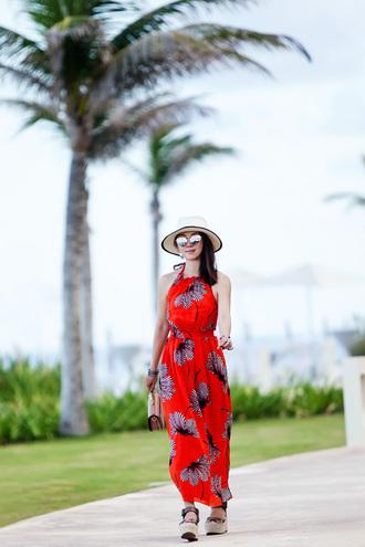 fit fab fun mom blogger dress skirt shoes bag sunglasses hat jewels wedges red dress maxi dress
