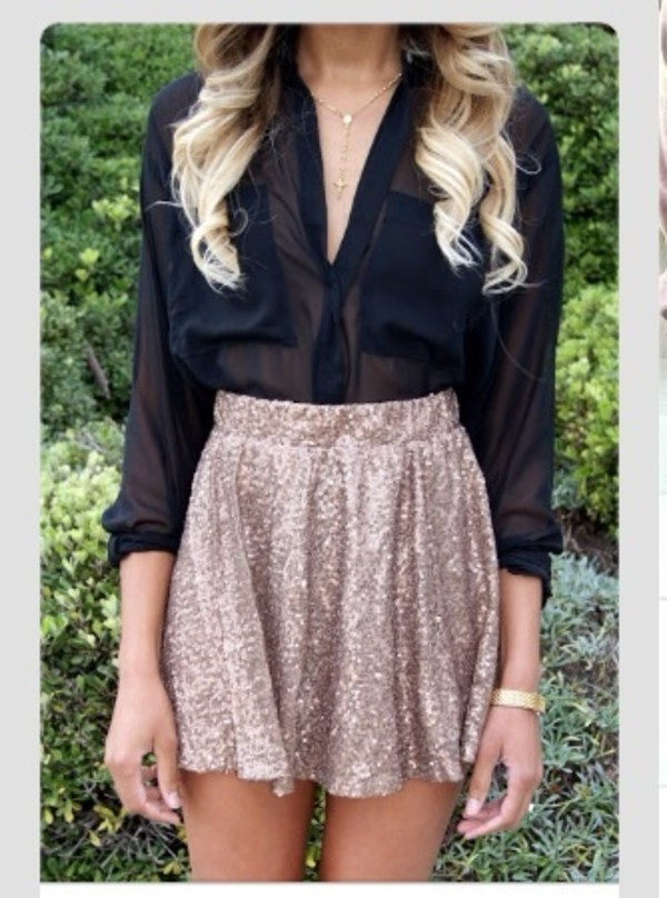 skirt gold skirt sparkle skater skirt