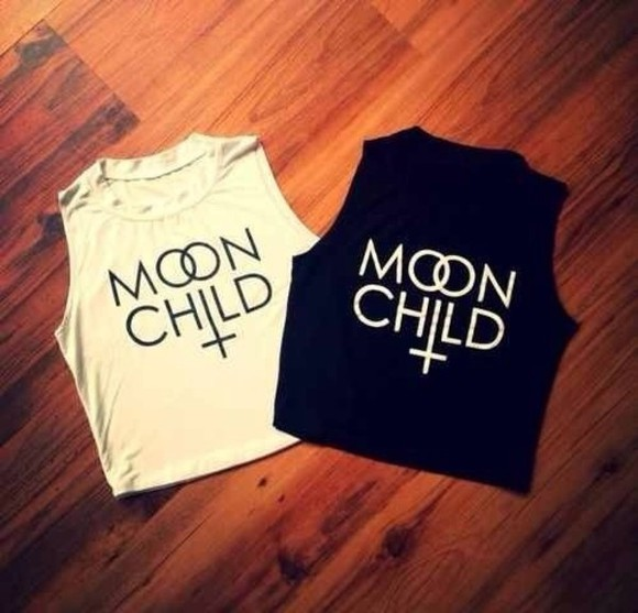 cross black white tank top moon child white tank top black tank top crop tops black crop top white crop top