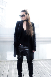 cottds,blogger,sunglasses,coat,pants,sweater,shoes,bag,black coat,thigh high boots,black sweater,all black everything,fall outfits,black vinyl pants