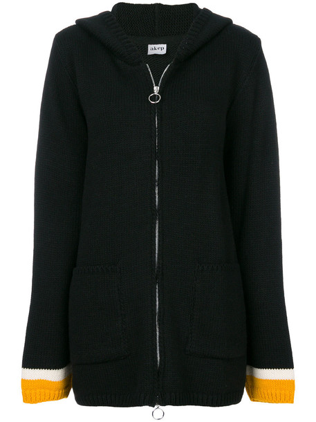 Akep cardigan cardigan zip women black wool sweater