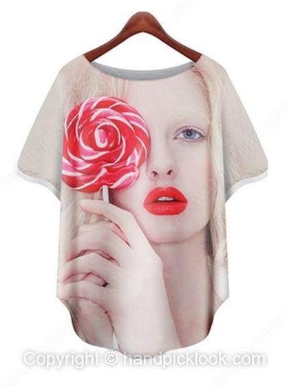 White Round Neck Short Sleeve Beauty & Lollipop Print T-Shirt - HandpickLook.com