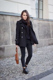 sweater,black cable knit sweater,tumblr,black sweater,cable knit,turtleneck,turtleneck sweater,coat,black coat,jeans,black jeans,bag,brown bag,boots,ankle boots,black boots