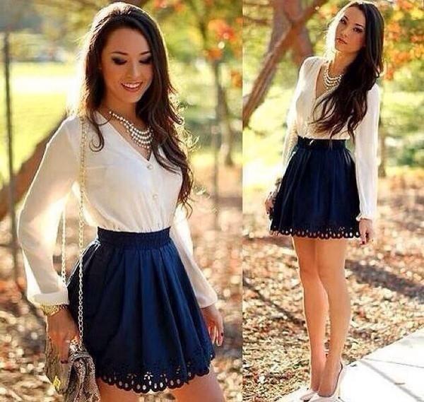 long sleeves statement necklace mini skirt blue skirt white heels