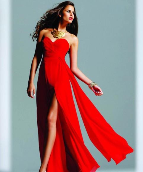 homecoming dress prom dress red dress long prom dress open leg dress