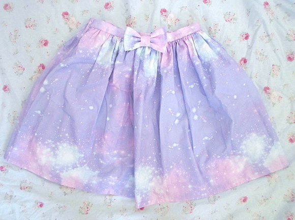 galaxy skirt skirt galaxy print purple colorful turquoise space stars bows pastel goth goth kawaii purple skirt