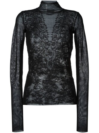 top patchwork jacquard lace black