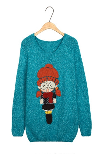 Cute Cartoon Pattern Print Sweater [FKBJ10383]- US$ 27.99 - PersunMall.com