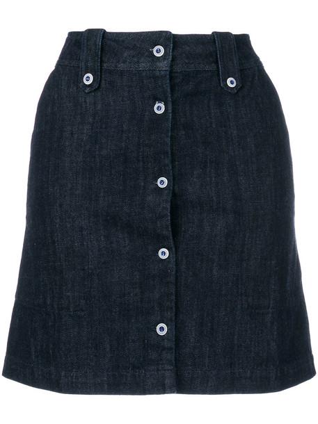 maison kitsune skirt mini skirt denim mini women cotton blue