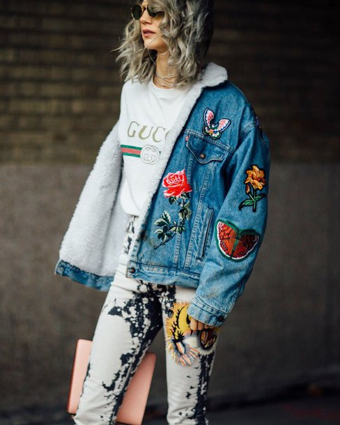 t-shirt sunglasses gucci t-shirt white t-shirt gucci logo tee jacket blue jacket denim jacket shearling jacket shearling denim jacket embroidered embroidered denim tie dye acid wash denim jeans bag pink bag