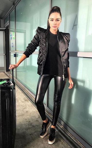 jacket pants leggings sweater instagram all black everything black black sweater top olivia culpo