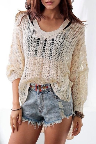 sweater knitted cardigan knitwear mesh mesh top fall outfits fall sweater hipster hippie grunge denim shorts indie see through loose autumn/winter cream stylish trendy back to school zaful comfy oversized sweater college casual dope streetstyle
