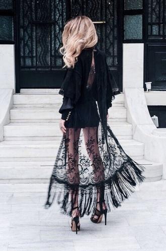 dress black black dress lace dress fringe kimono