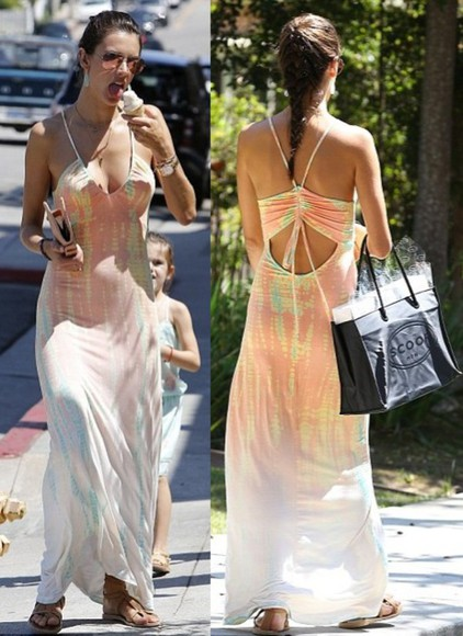 alessandra ambrosio summer outfits dress maxi dress