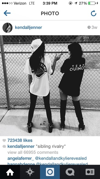 kendall and kylie jenner thigh high boots cap top shirt hat t-shirt black white diamonds dope style gangsta cool kylie jenner