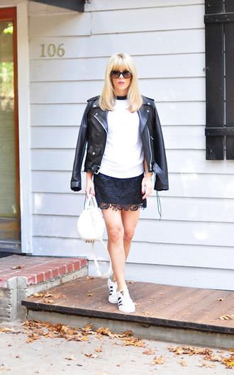 love maegan blogger lace skirt mini skirt black skirt black leather jacket
