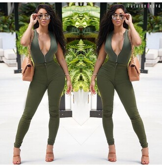 olive green outfit outfit idea summer outfits cute outfits spring outfits date outfit party outfits clubwear high heels heels cute high heels sexy shoes high waisted jeans skinny jeans skinny pants high waisted pants bag purse sunglasses bodysuit